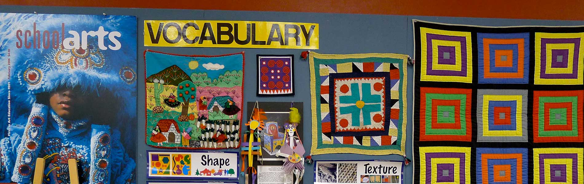 Classroom wall with examples of art-vocabulary words