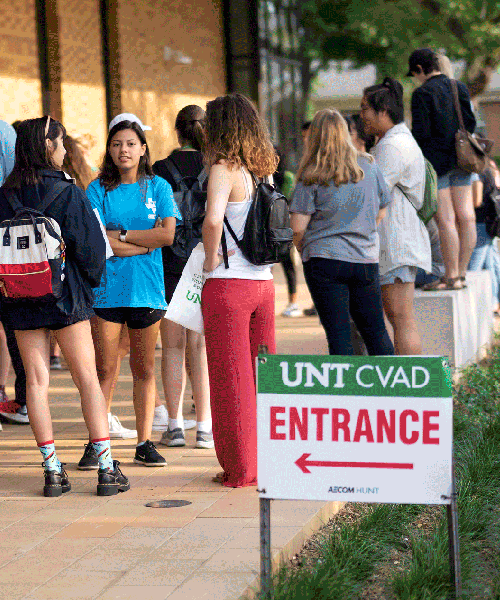 Students at the entrance of the Art Building