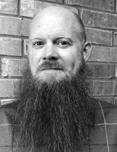 Matt Kernan, head and shoulders, black and white photo