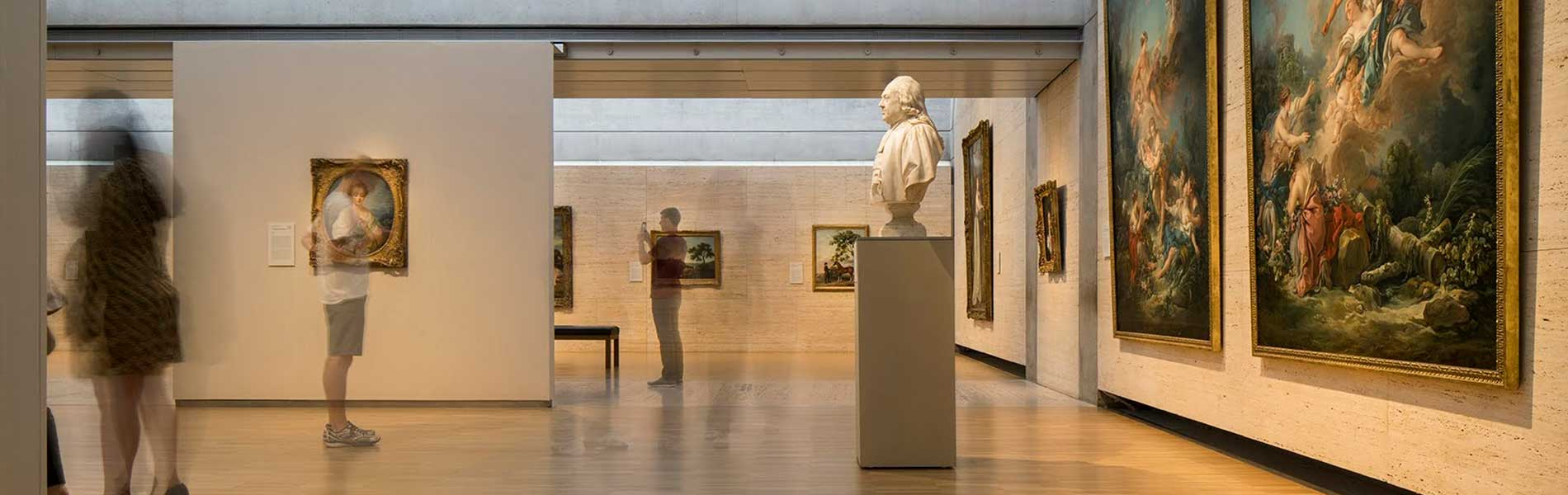 View of a gallery with visitors at the Kimbell Art Museum