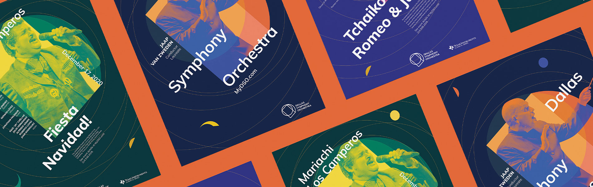 Graphic designs of programs for the Dallas Symphony by Meah Lin
