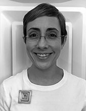 Ana M. Lopez, head and shoulders portrait in black and white