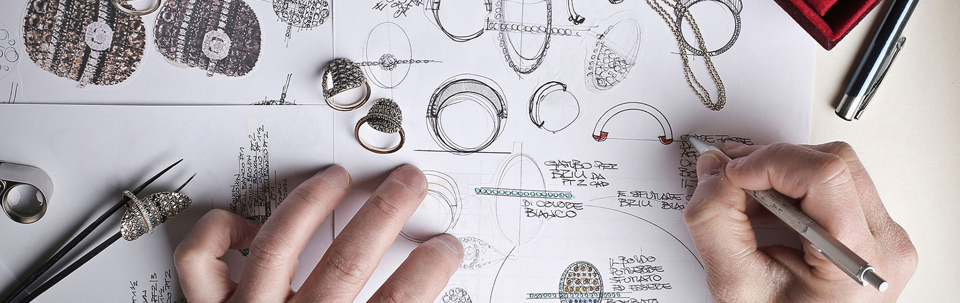Metalsmithing and jewelry hands drawing