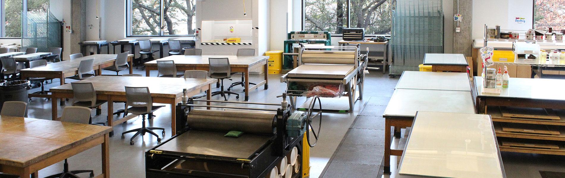 Printmaking etching stations