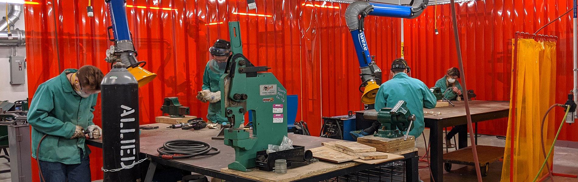 Sculpture Studio - student at work in the metal shop