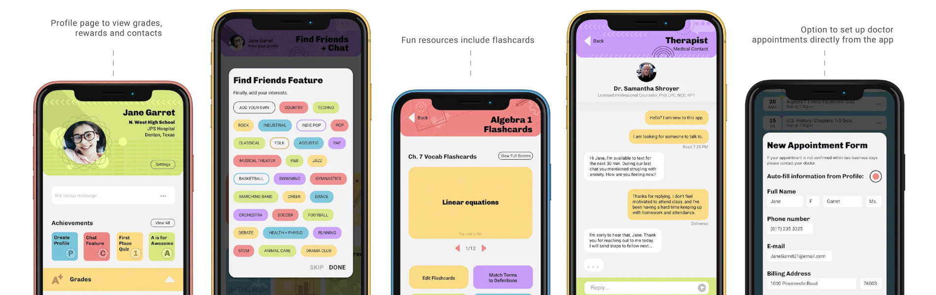 User-experience design in five mobile phone applications