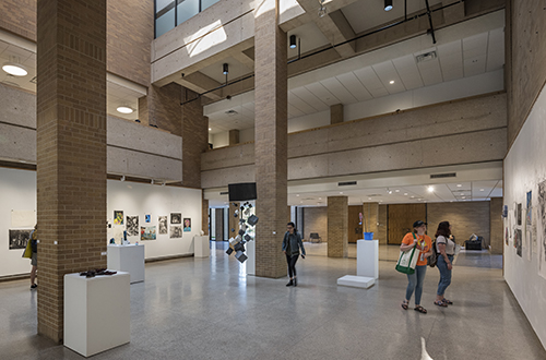 Interior of the Paul Voertman Gallery in the CVAD Art Building